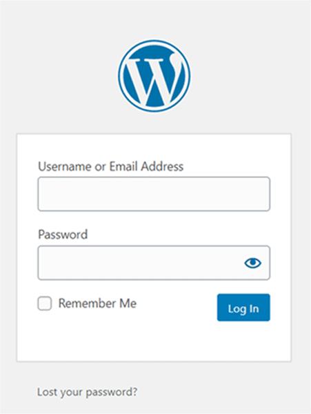 WordPress Admin Login Area