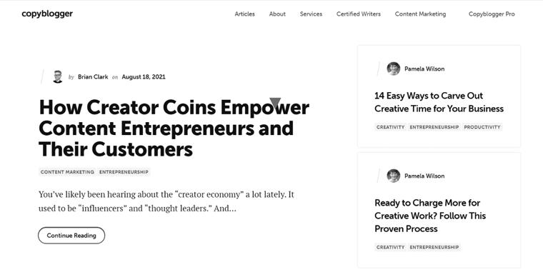 Copyblogger Blog Website Example
