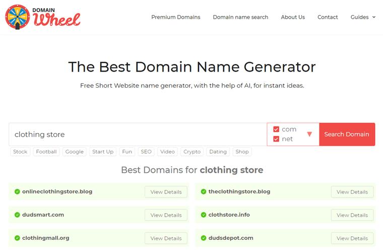 DomainWheel Domain Search Results