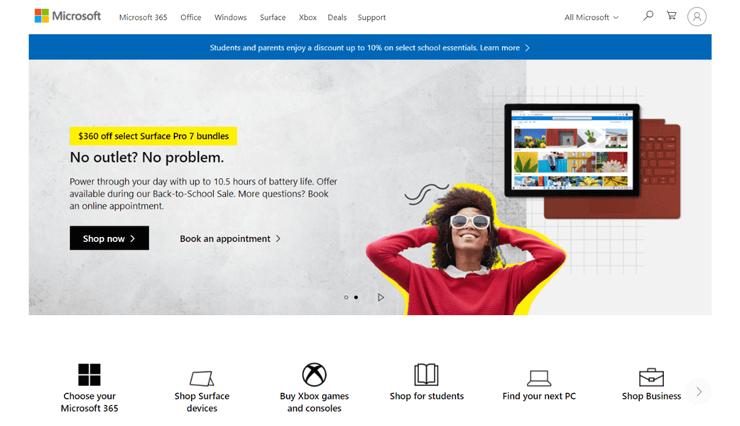 Microsoft Business Website Example