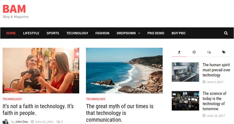 Bam WordPress Theme for Blog