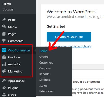 WooCommerce Option in WordPress Dashboard Menu