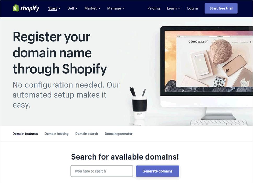 Shopify Domain Name Registrar
