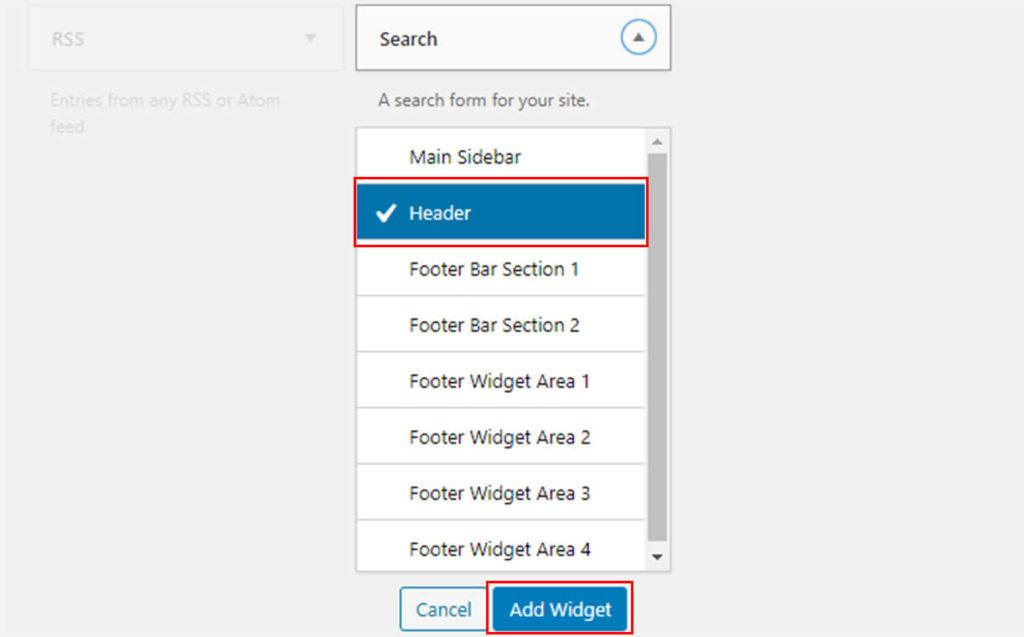 Adding Search Widget in Header