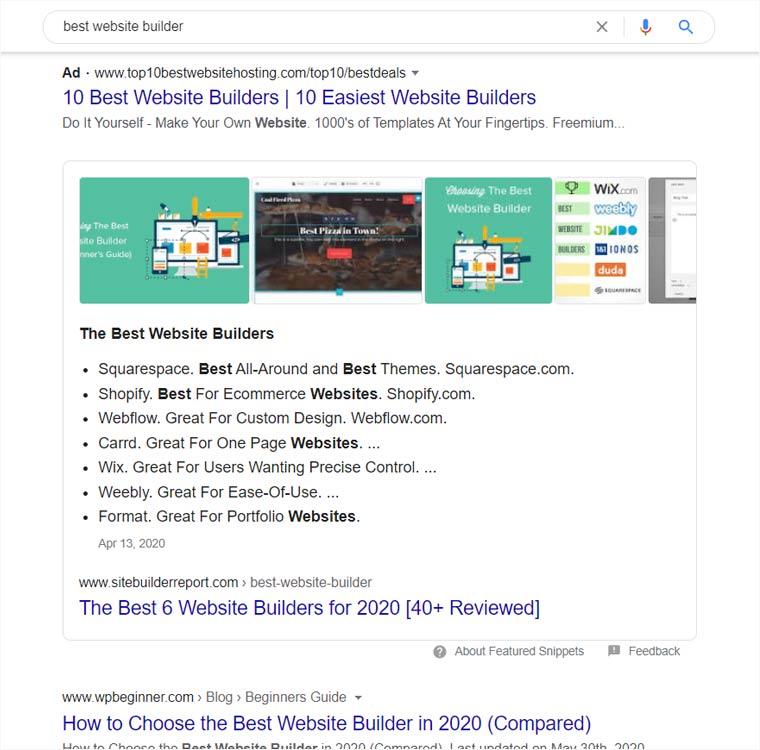 Best Website Builder Google Result