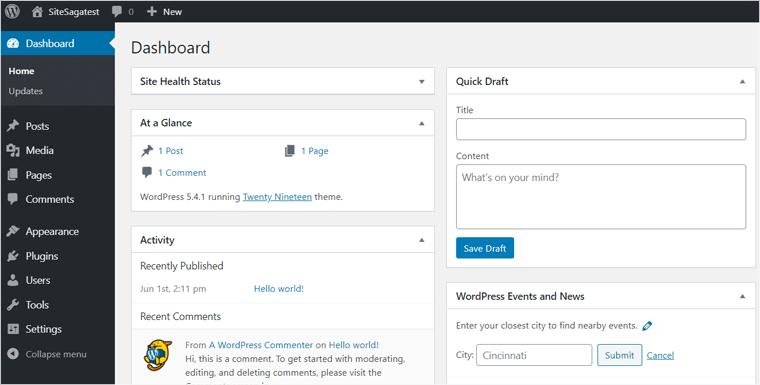 WordPress Admin Area Dashboard