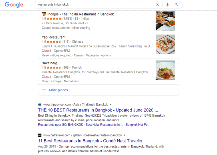 Google Local SERP Result