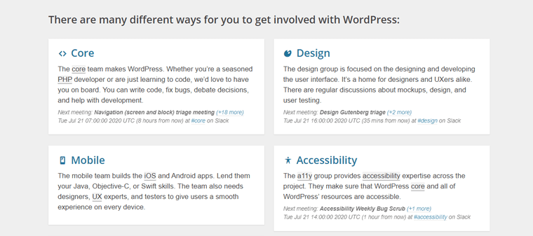 Different Teams for Contributing to WordPress  Project