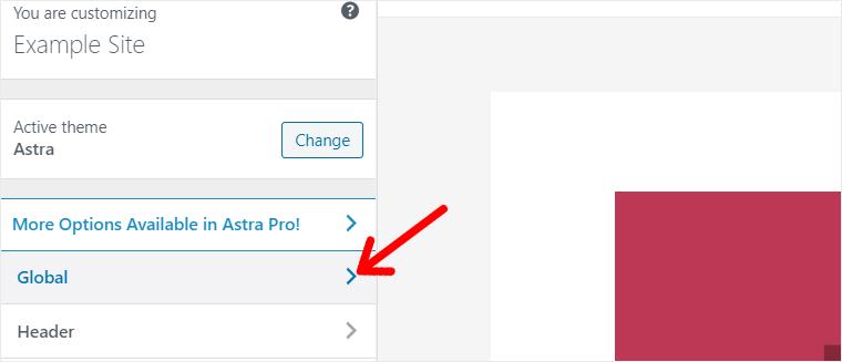 Global Option in Astra WordPress Theme