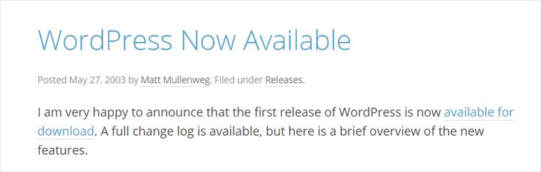 WordPress Now Available News Screenshot