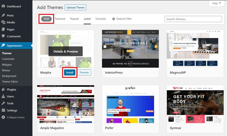 Add Themes Page on WordPress Dashboard
