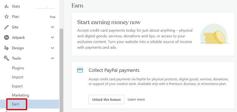Earn Page in WordPress.com Dashboard