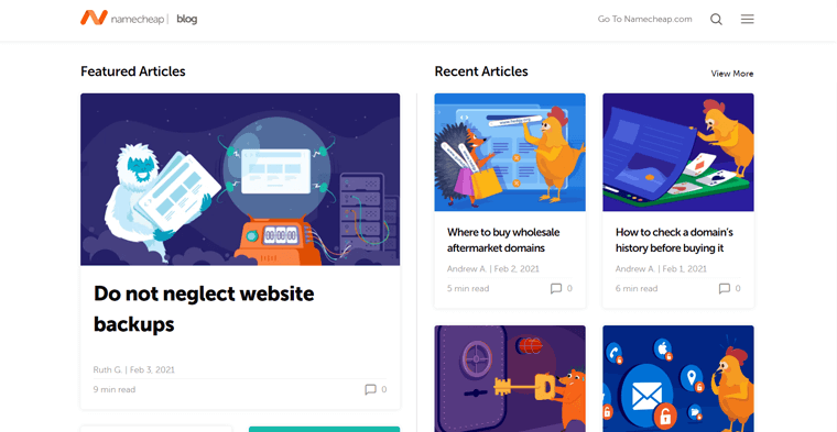 Namecheap Blog (Example of a Marketing Blog for Business)