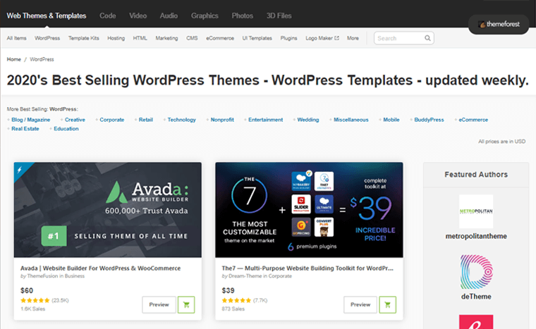 ThemeForest WordPress Theme Marketplace