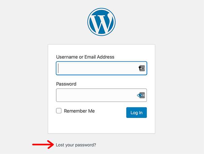Lost your password option