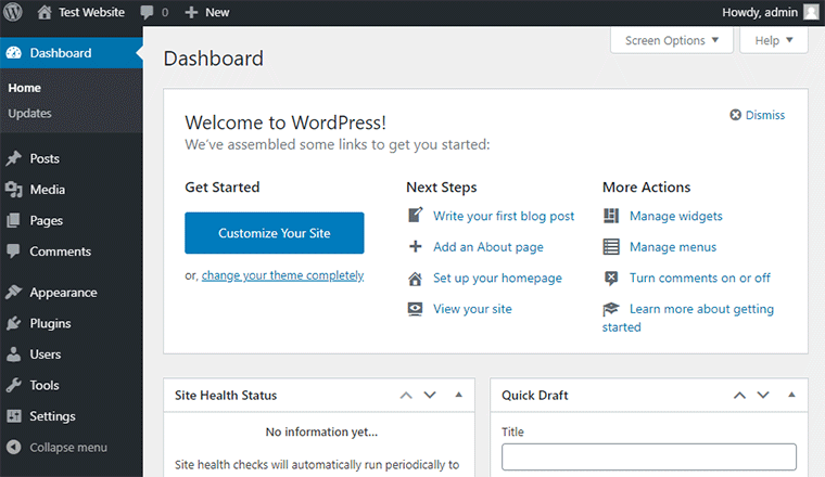 WordPress Dashboard Admin Area