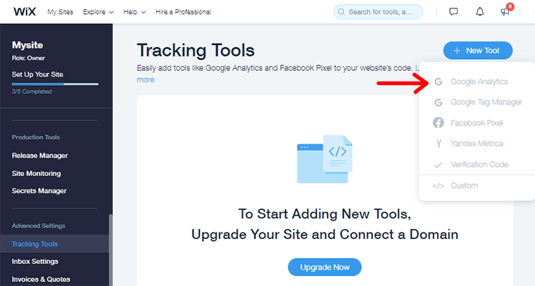 Adding Tracking  Code in Wix