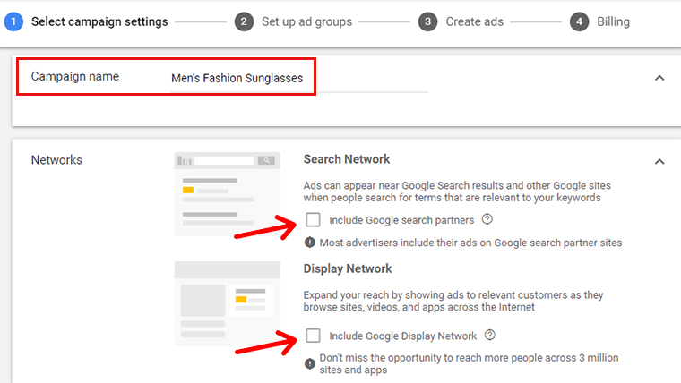 Enter Campaign Name Disable Search Network and Display Network