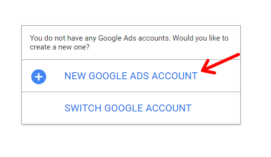 Click on New Google Ads Account