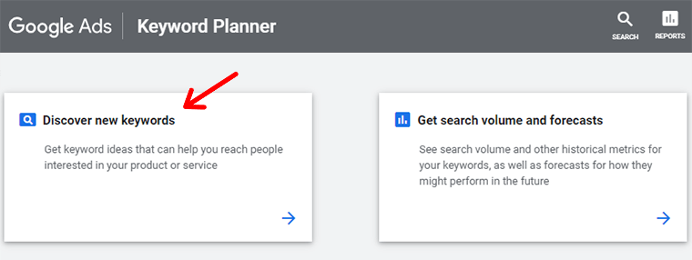 Click on Discover New Keywords with Google Keyword Planner