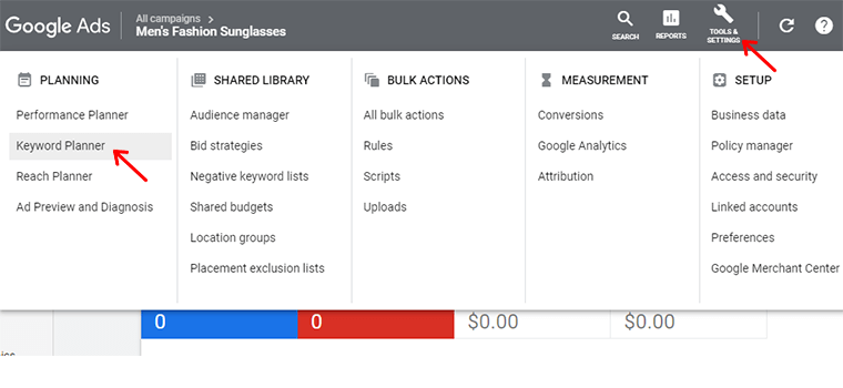 Goto Keyword Planner from Tools and Settings in Google Ads Dashboard