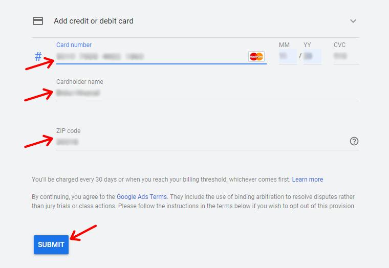 Enter Payment Details for Credit/Debit Card or Bank