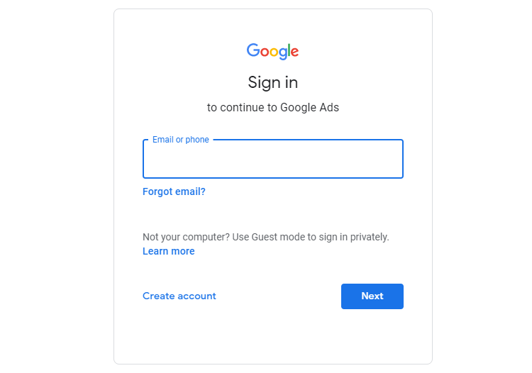 Sign In to Google Ads with Google Account