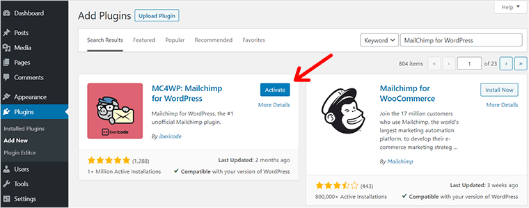 Activate MailChimp For WordPress Email Marketing