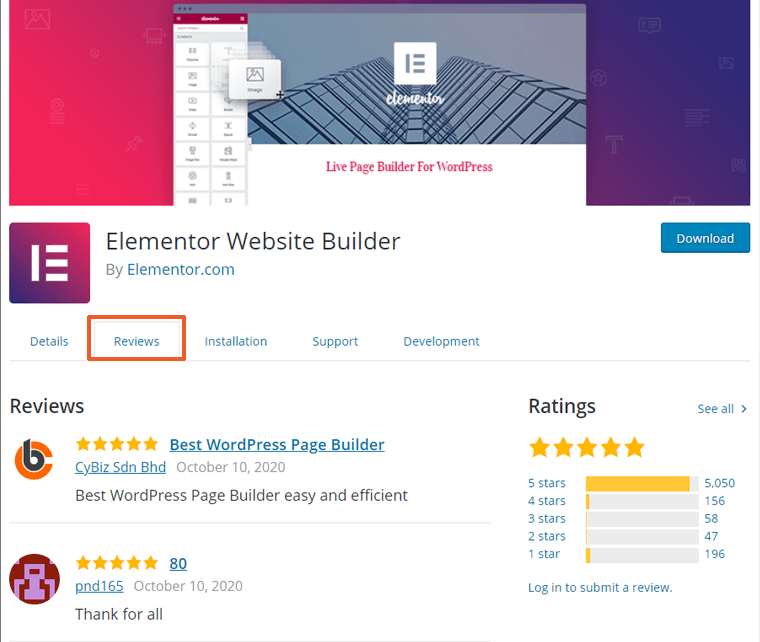 User Reviews for Elementor WordPress Plugin