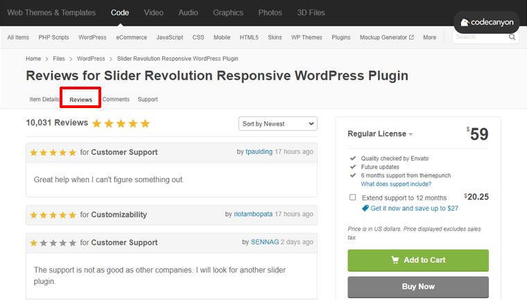 User Reviews for Slider Revolution WordPress Plugin