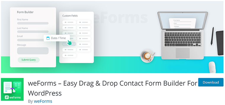 weForms Drag and Drop Contact Form Plugin