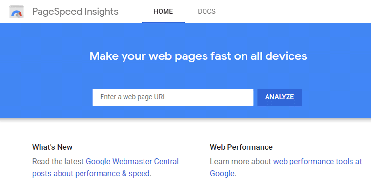 Google PageSpeed Insights Speed Testing Tool