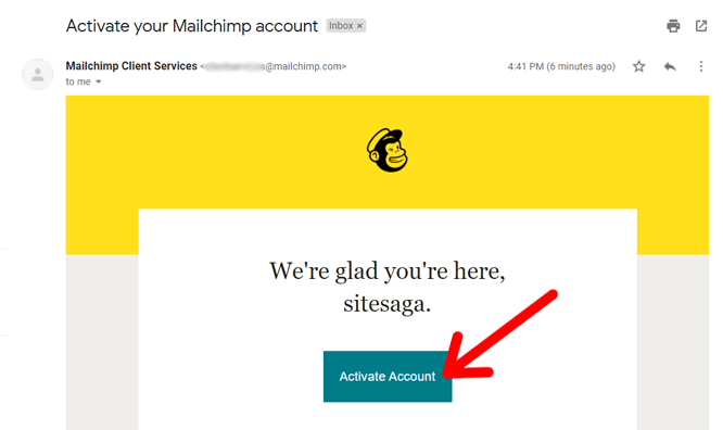 Activate Mailchimp Account from Email Inbox