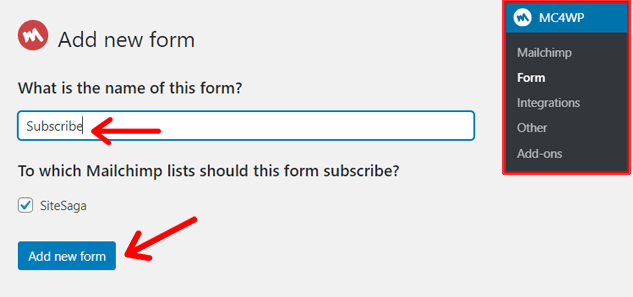 Add New Email Sign-Up Form in WordPress