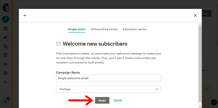 Begin Email Campaign Building in Mailchimp