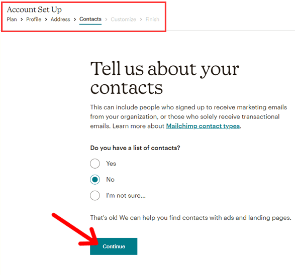 Enter Contacts Info in Mailchimp