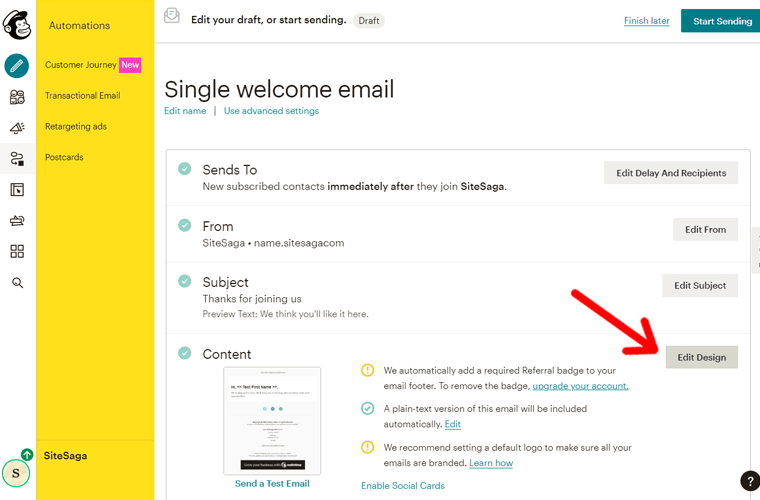 Edit Design of Email Campaign in Mailchimp