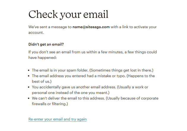Email to Activate Mailchimp Account