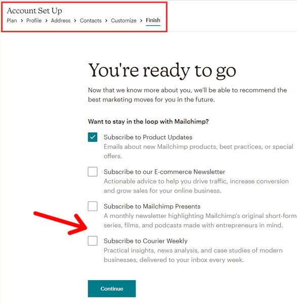 Finish Mailchimp Email Marking Account Setup