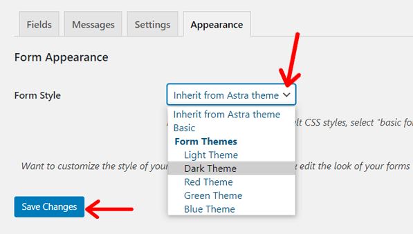 Form Style Options in Mailchimp for WordPress