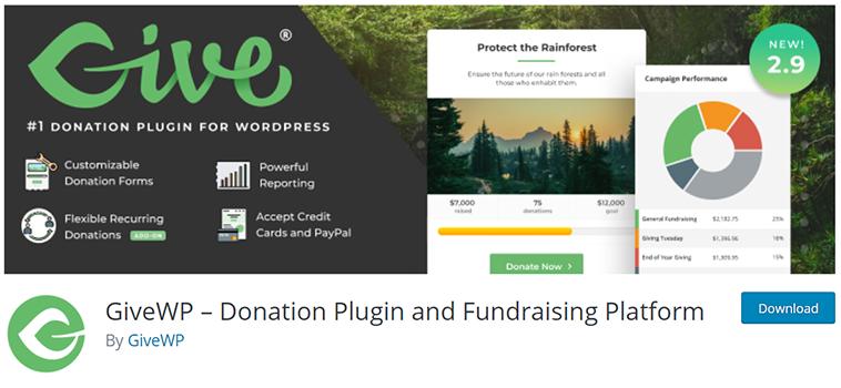 GiveWP for WordPress.