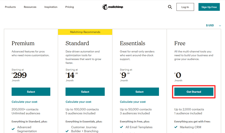 Mailchimp Pricing Get Started with Free