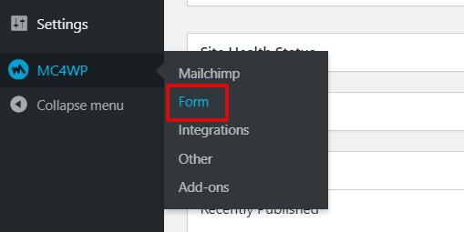 Mailchimp for WordPress Form Option