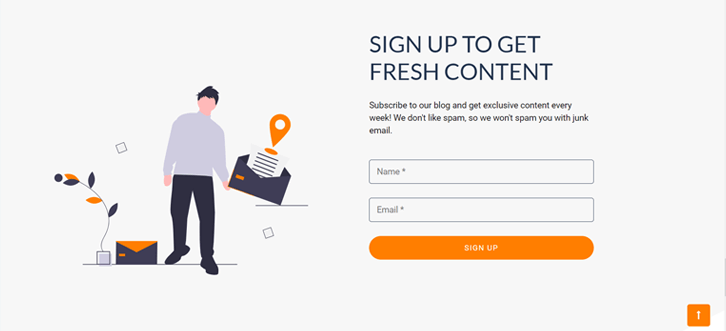 Email Sign-up Form Example on SiteSaga