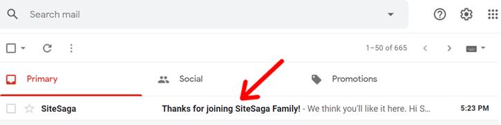 SiteSaga Welcome Email Demo