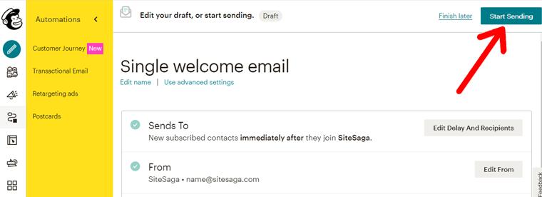 Start Sending Email in Mailchimp