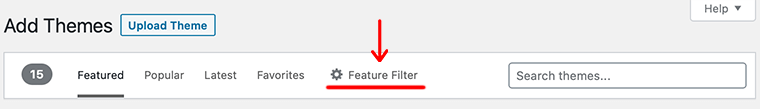 Feature Filter Option