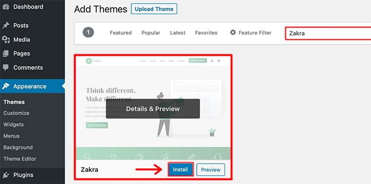 Search for Theme in Search Field