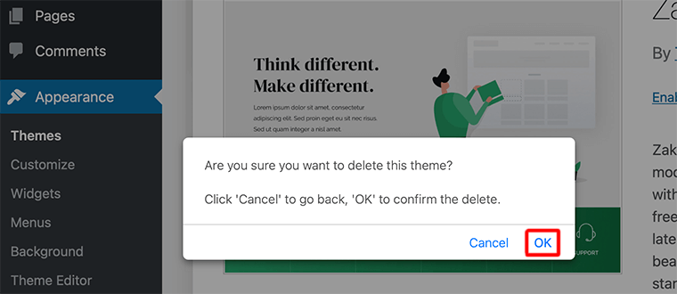 Ask Confirmation to Delete a Theme