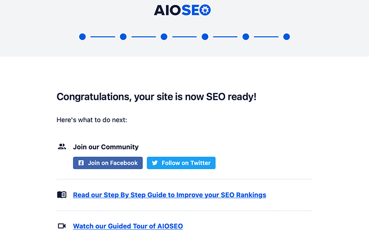 Completed AIOSEO setup wizard